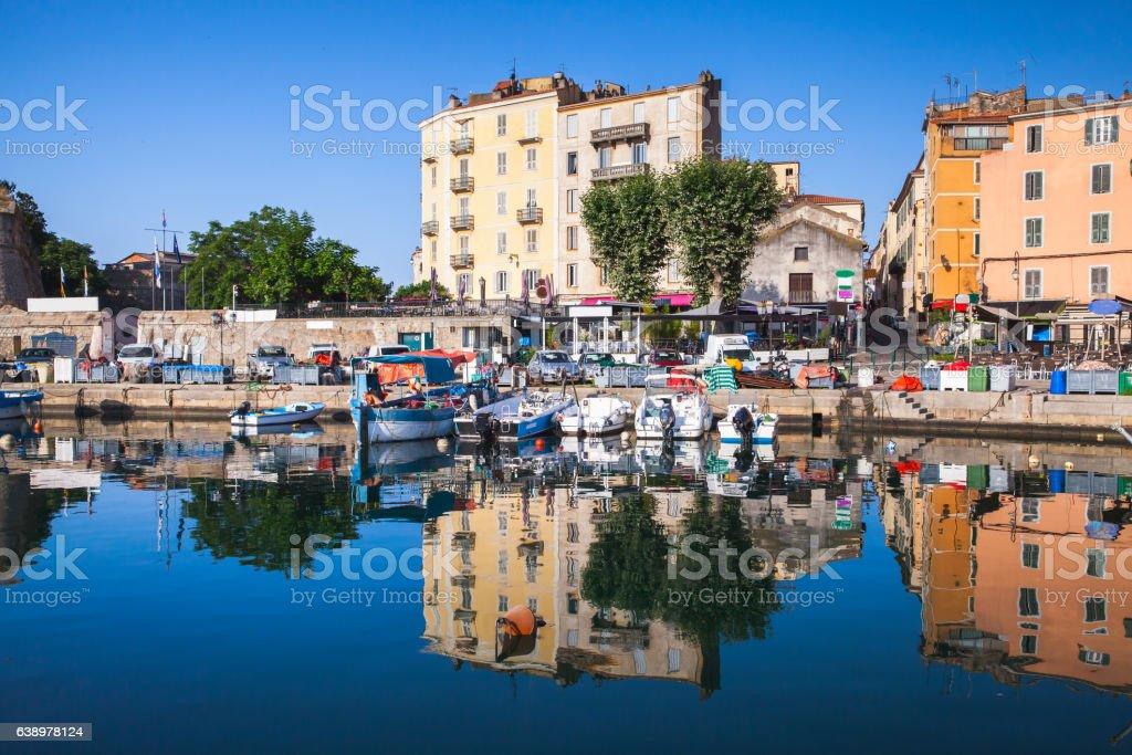 Old port of Ajaccio, Corsica island, France stock photo