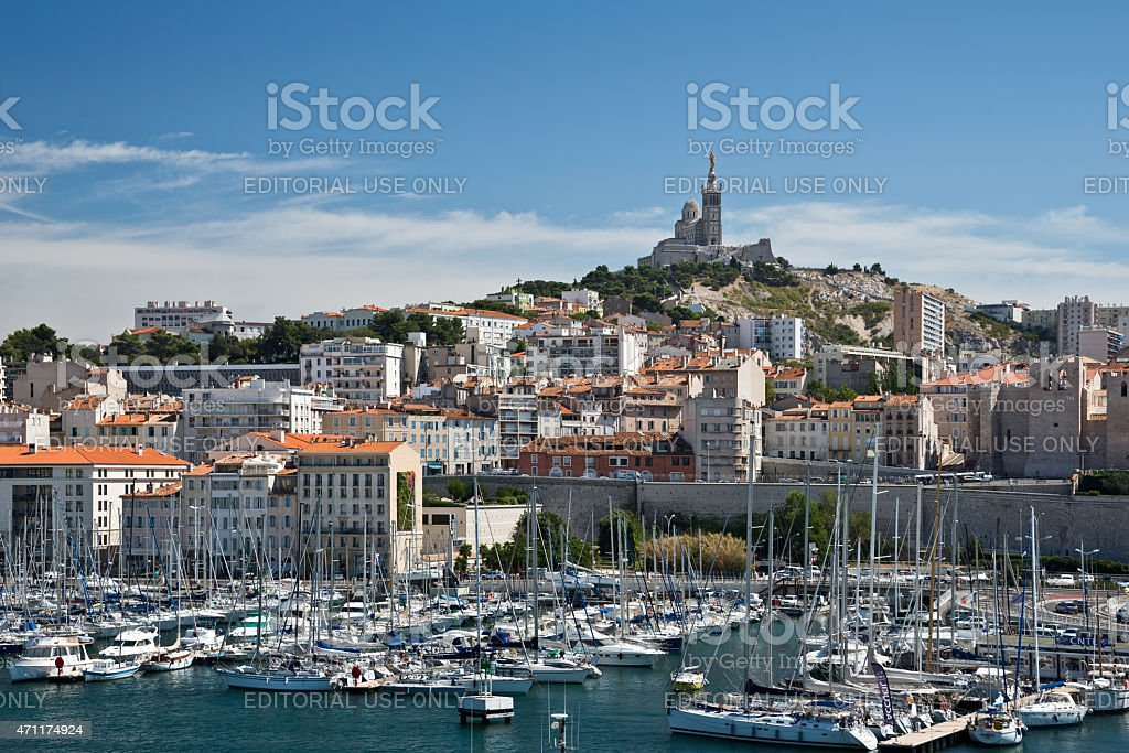 Old port of Marseille, France stock photo