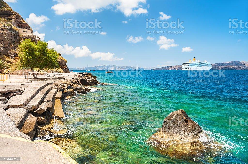 Old port of Santorini island, Greece stock photo
