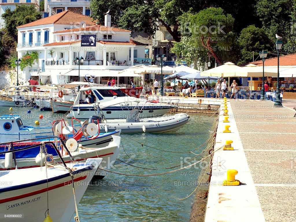 Old Port, Skiathos, Greece. stock photo