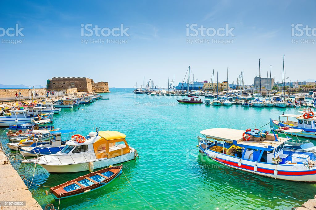 Old port with boats in Heraklion, Crete stock photo