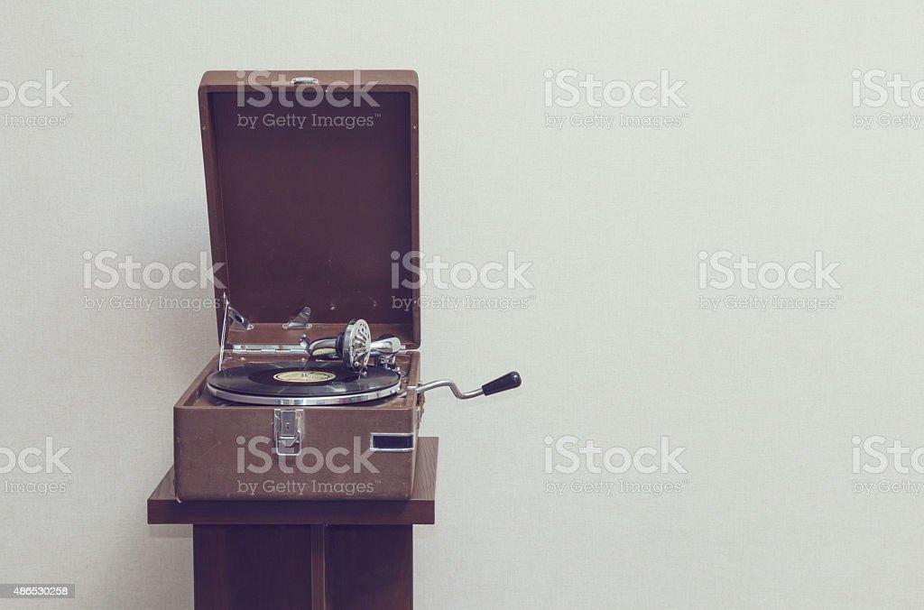 Old portable gramophone stock photo