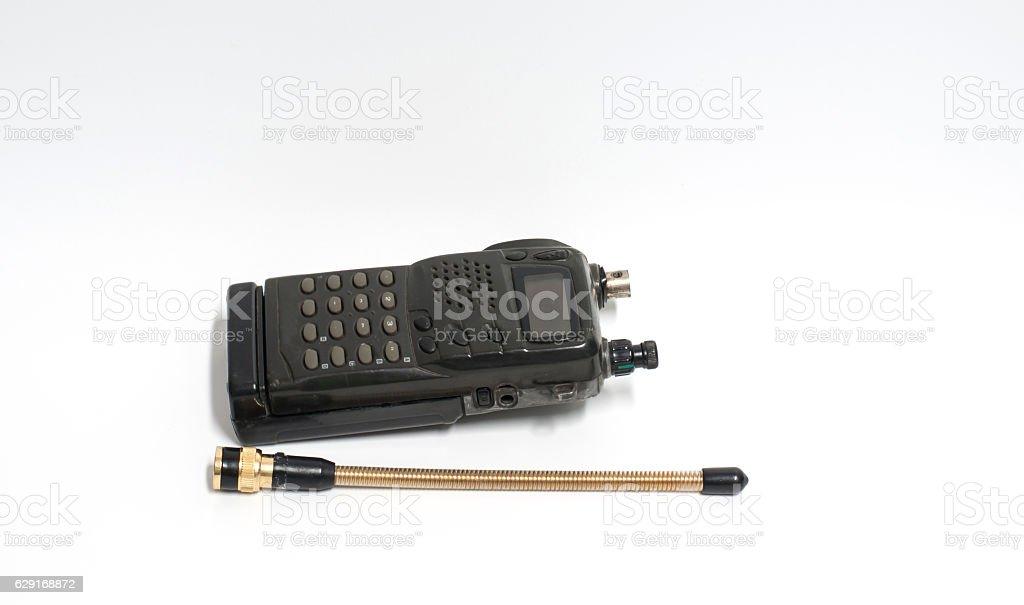 Old portable radio set. stock photo
