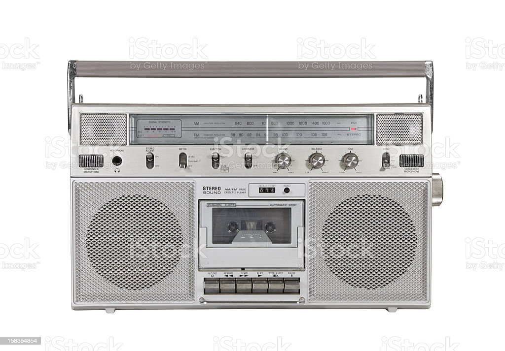 Old Portable Stereo Cassette Player with Clipping Path stock photo