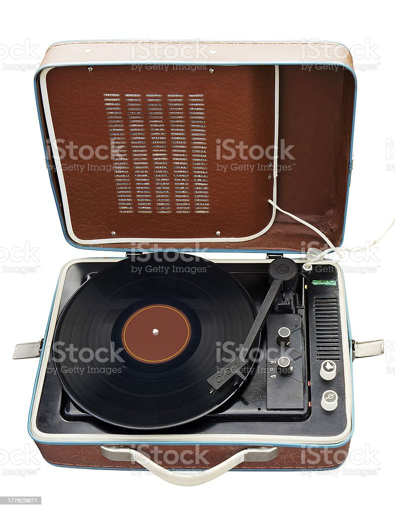 Old portable turntable royalty-free stock photo
