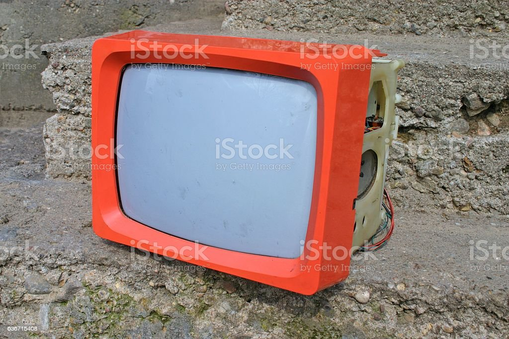Old portable TV stock photo