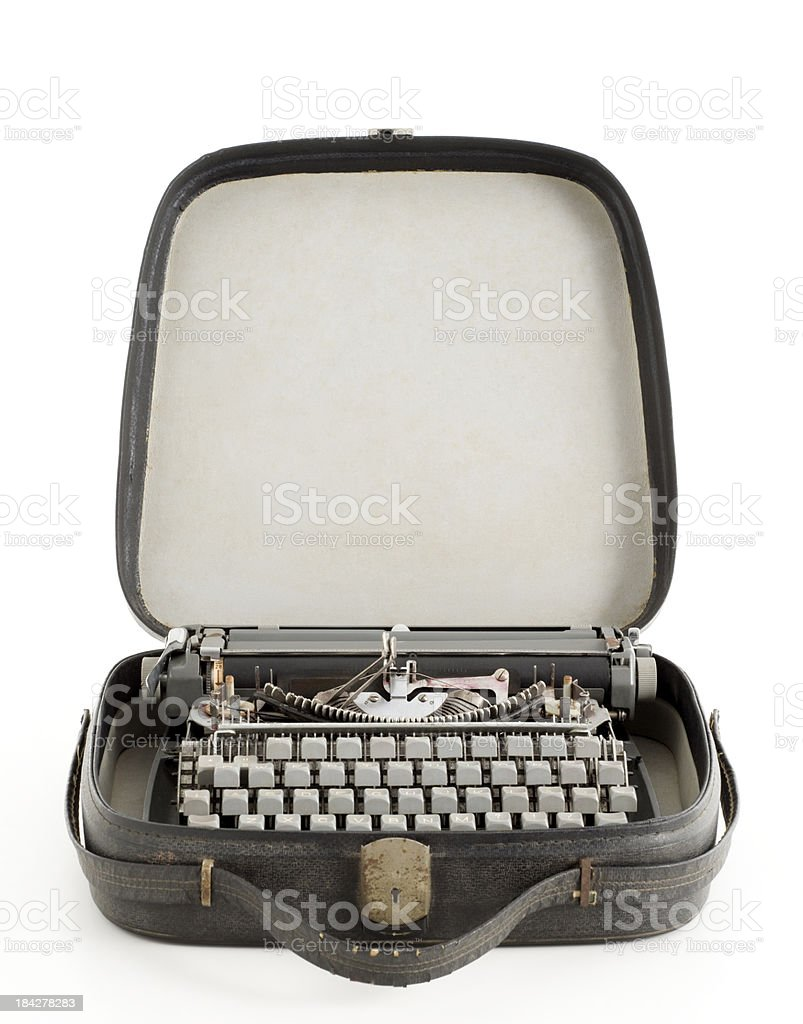 old portable typewriter in his briefcase royalty-free stock photo
