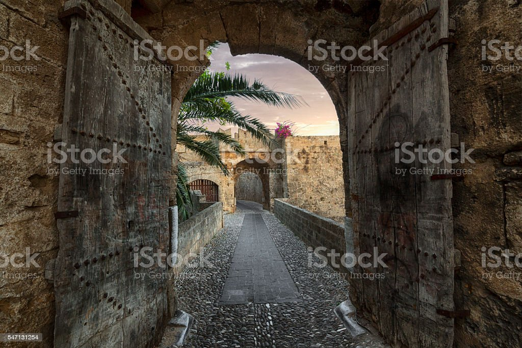 Old Portal and Pedestrian Walkway Entering to Medieval Rhodes Town stock photo