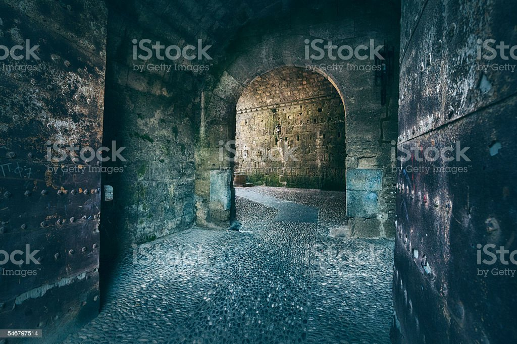 Old Portal Entering to the Medieval Town of Rhodes, Greece stock photo