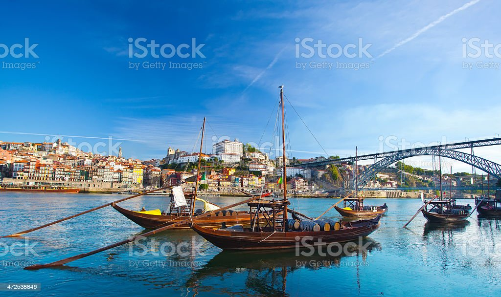 old Porto and traditional boats with wine barrels, Portugal stock photo