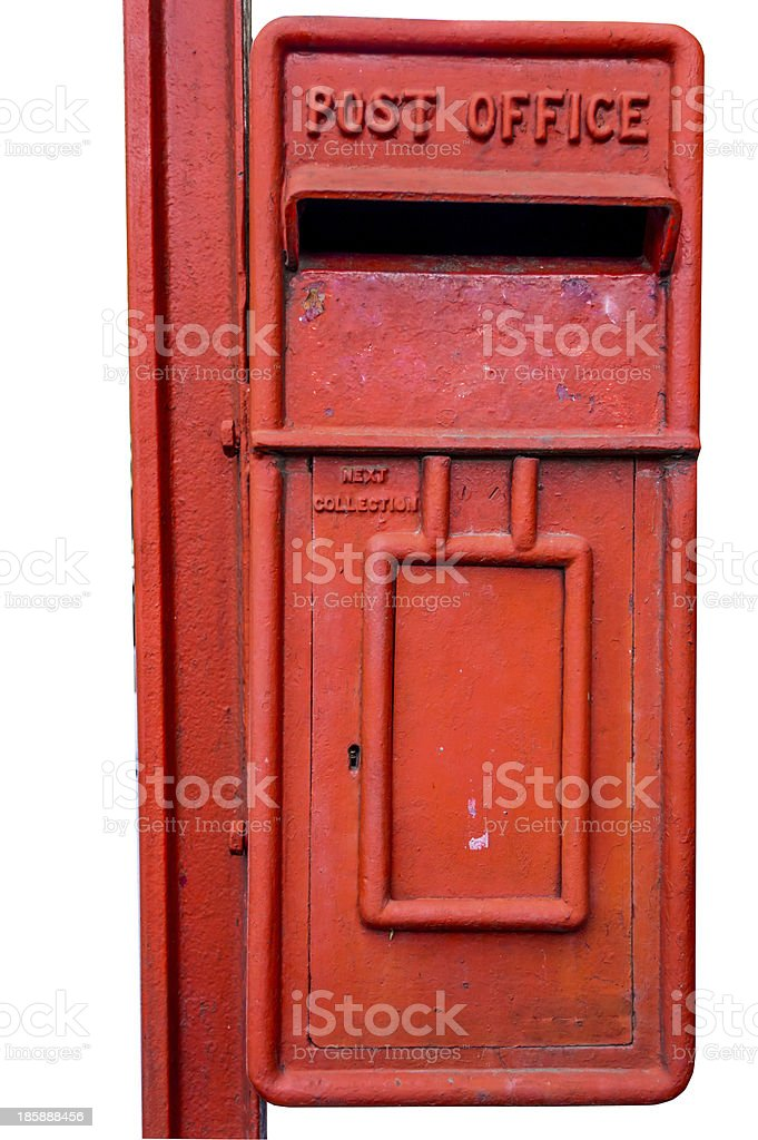 old post box with cliping path royalty-free stock photo