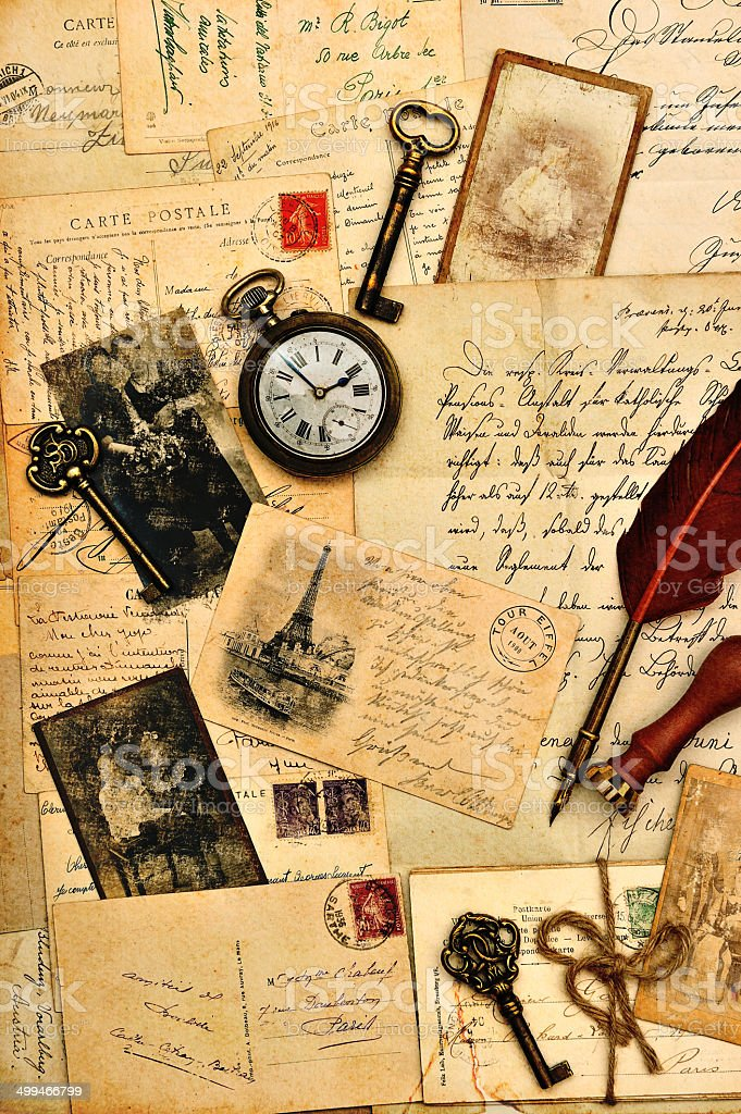 old post cards, letters and photos stock photo