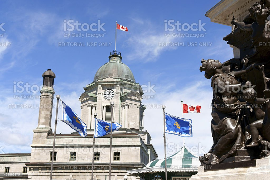 Old Post Office and monument to Samuel de Champlain stock photo