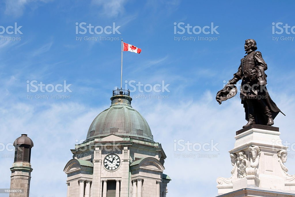 Old Post Office and Samuel de Champlain monument stock photo