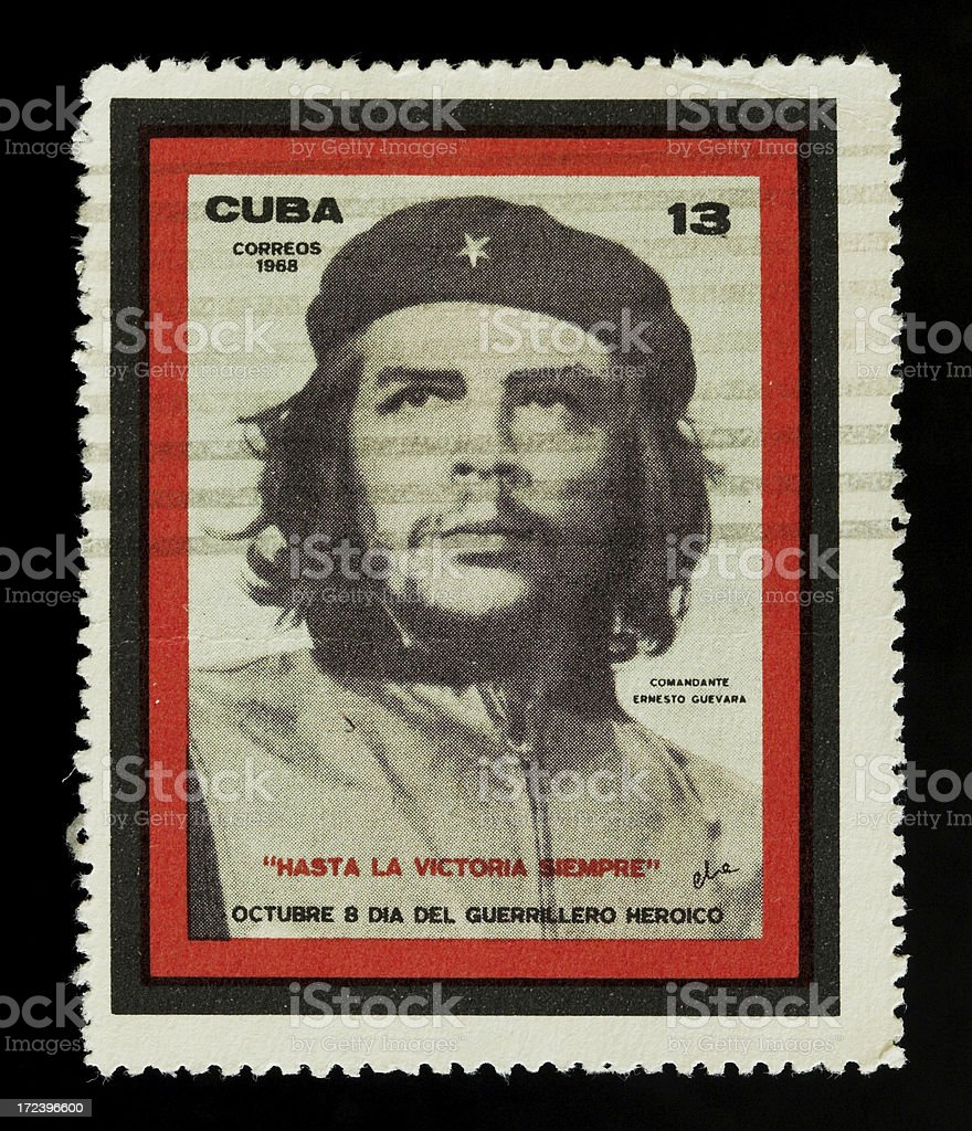 Old postage stamp from Cuba with Che Guevara stock photo