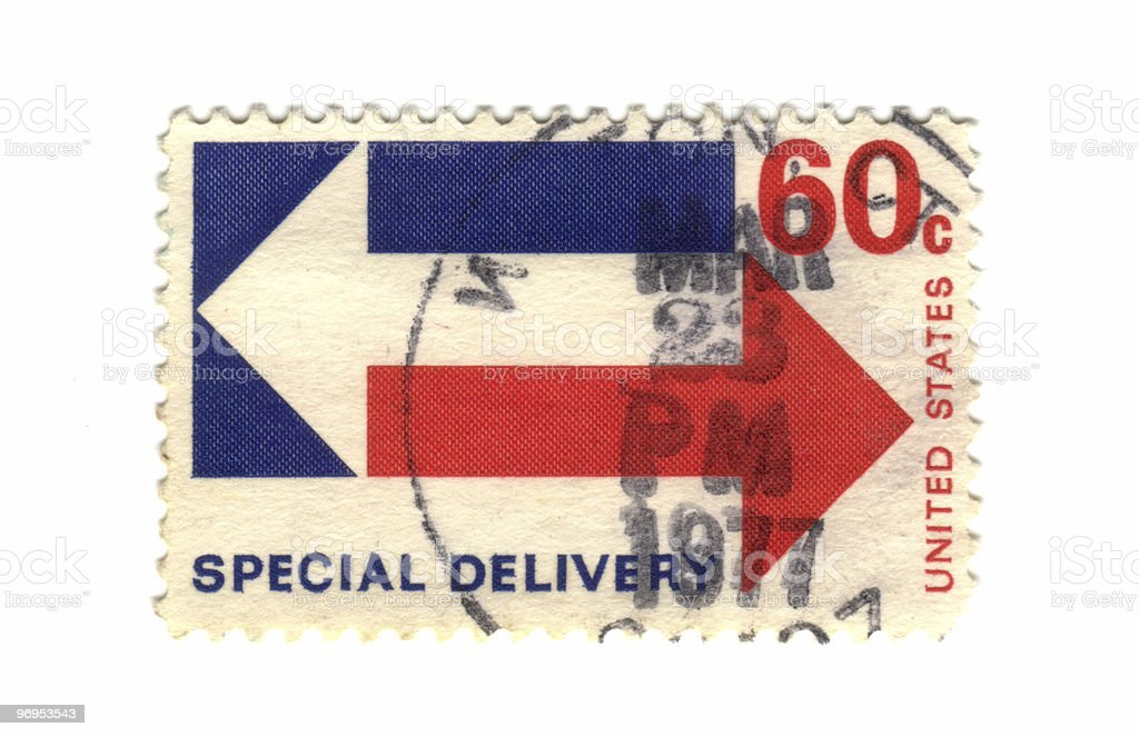 old postage stamp from USA special delivery stock photo