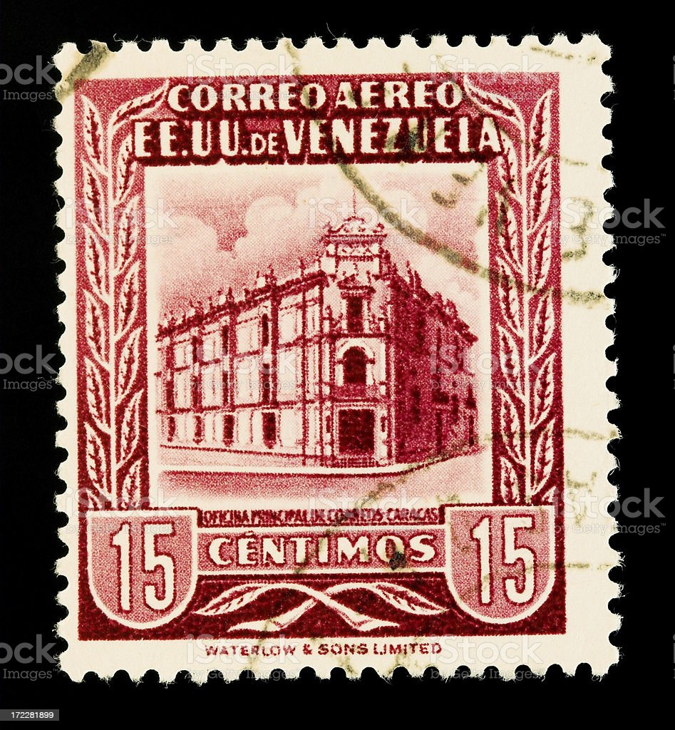 Old postage stamp from Venezuela royalty-free stock photo