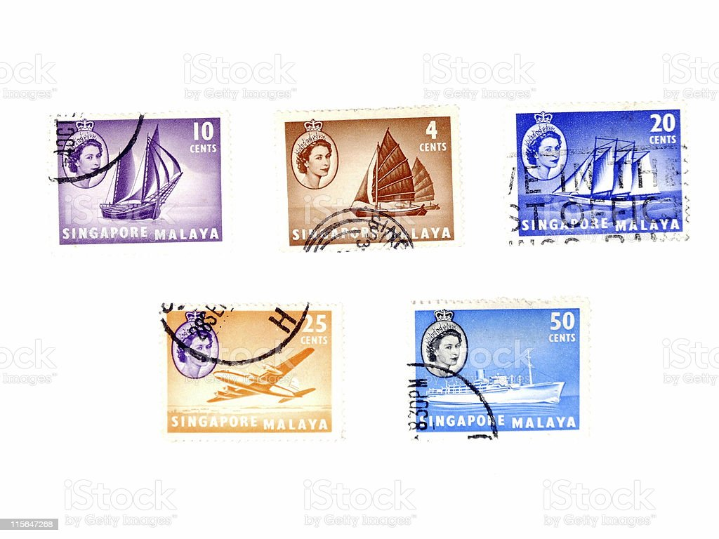 Old postage stamps from Singapore royalty-free stock photo