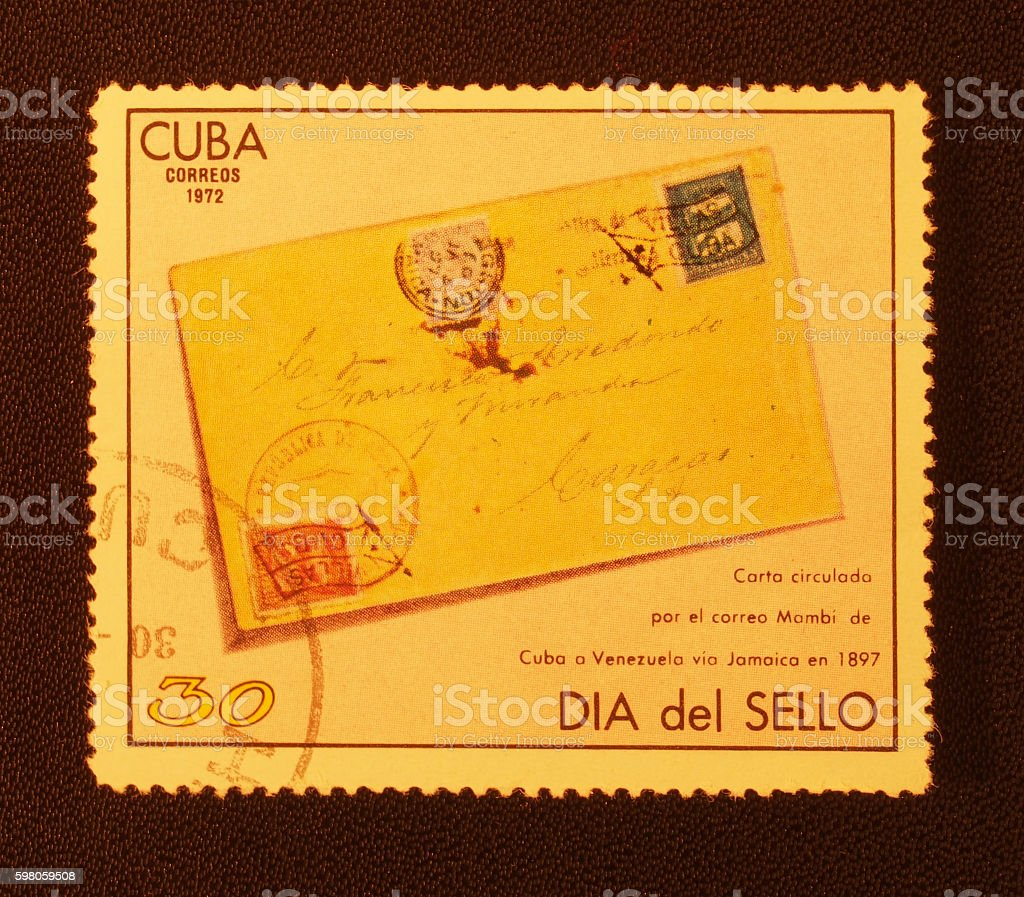 Old postage stamps, stock photo