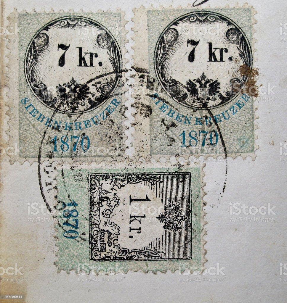 old postal stamp stock photo