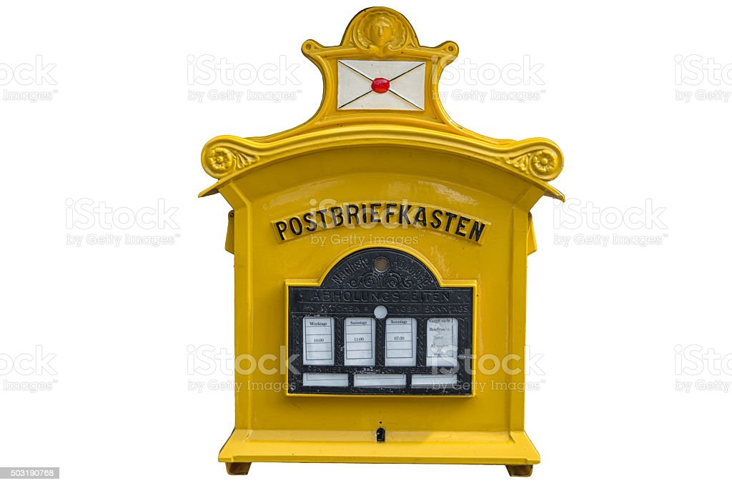 alter Postbriefkasten in gelb stock photo