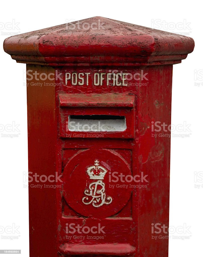 old Postbox with cliping path royalty-free stock photo