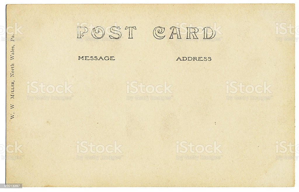 Old Postcard Back royalty-free stock photo