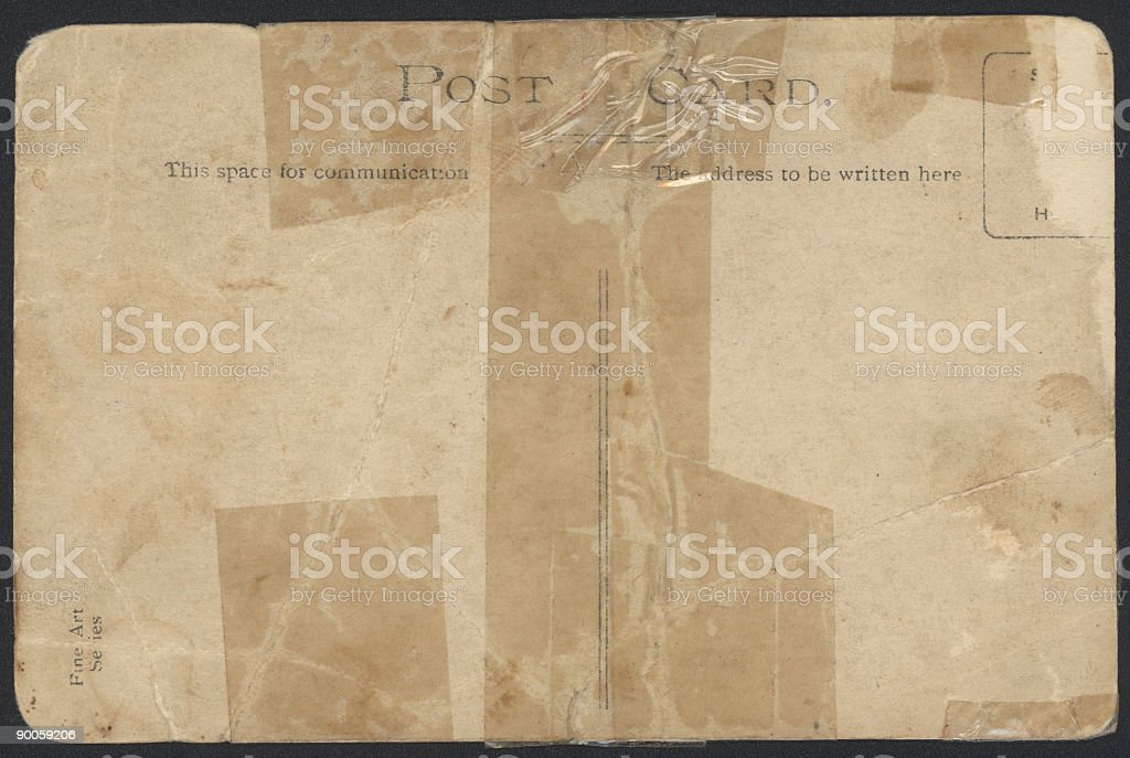 Old Postcard Background texture with selotape stock photo