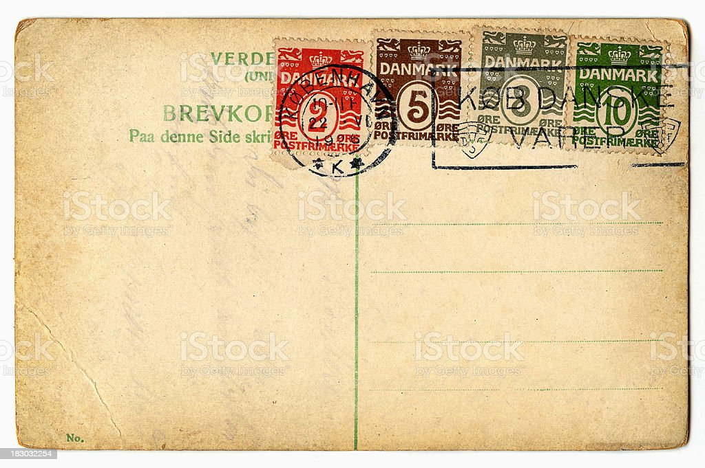 old postcard from denmark royalty-free stock photo