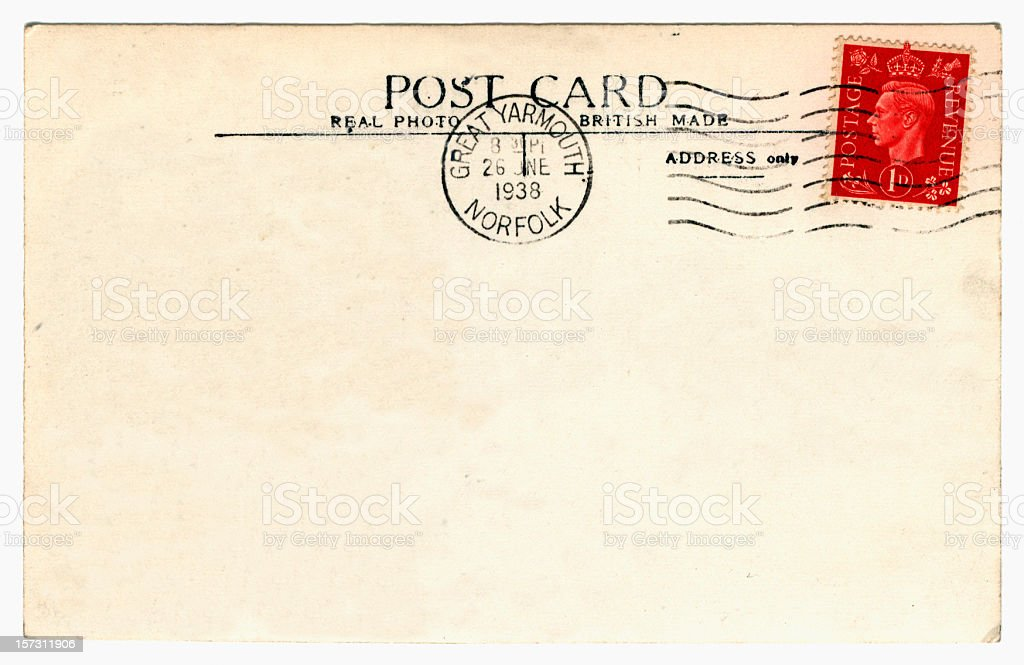 Old postcard: King George VI royalty-free stock photo