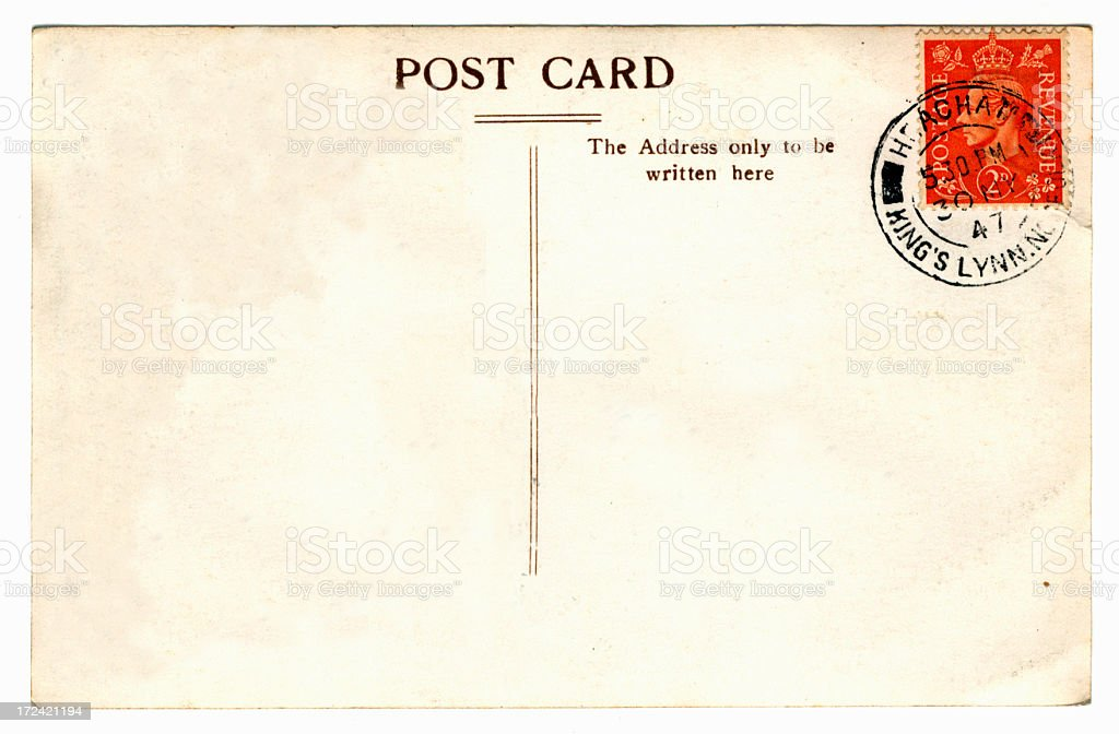 Old postcard - King George VI stock photo
