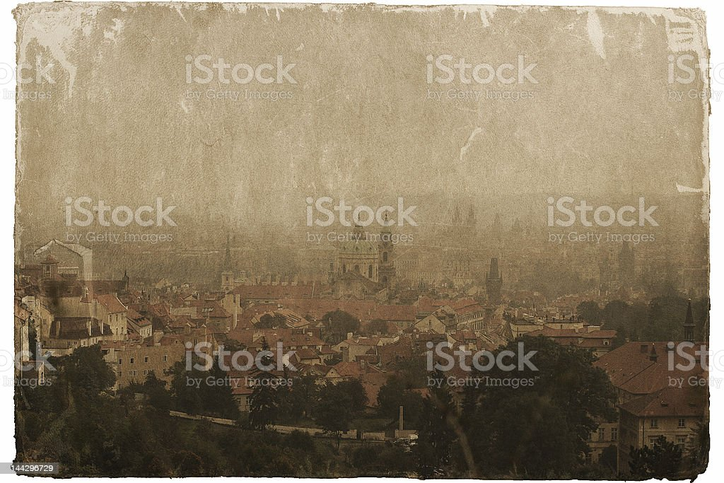 Old postcard of Prague view in sepia tones royalty-free stock photo