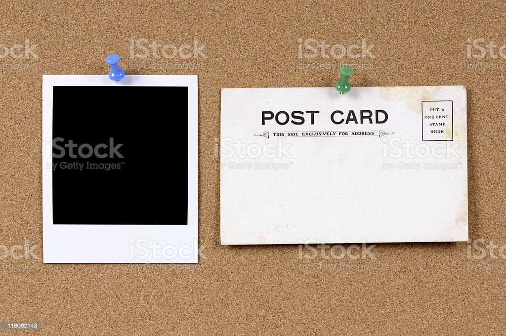 Old postcard with blank photo royalty-free stock photo