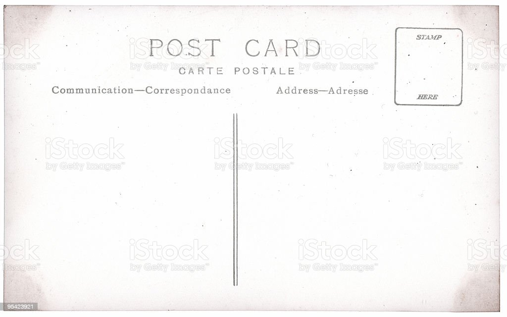 Old postcard with dirty edges royalty-free stock photo