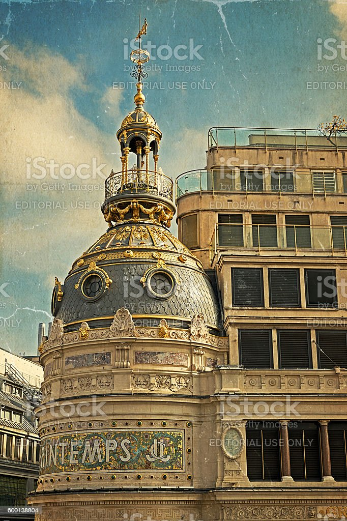 Old postcard with part of facade from store Printemps, Paris stock photo
