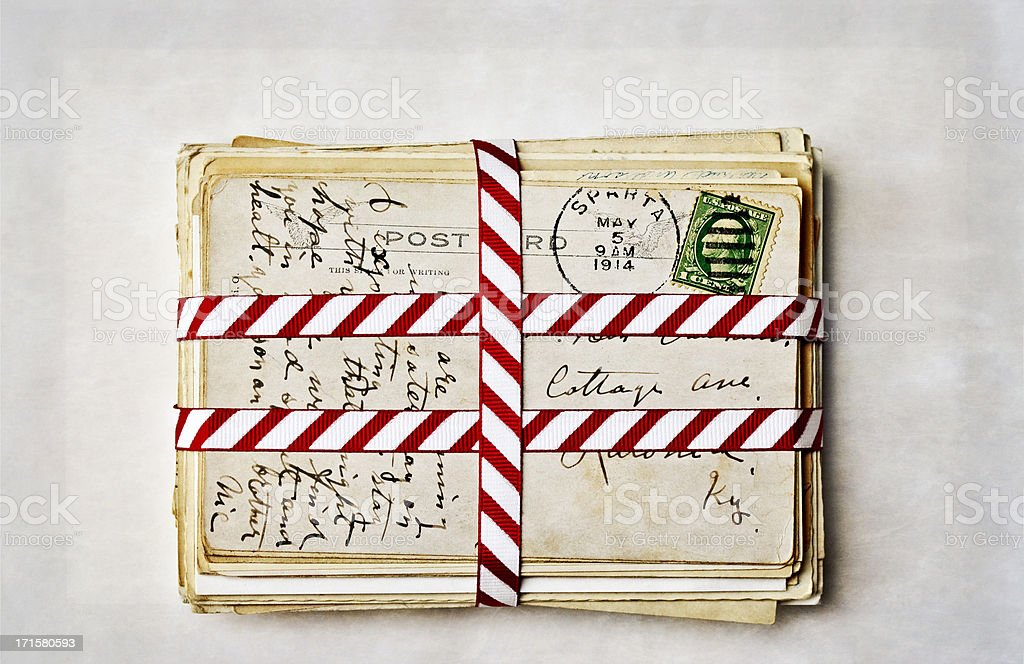 Old Postcards with Ribbon royalty-free stock photo