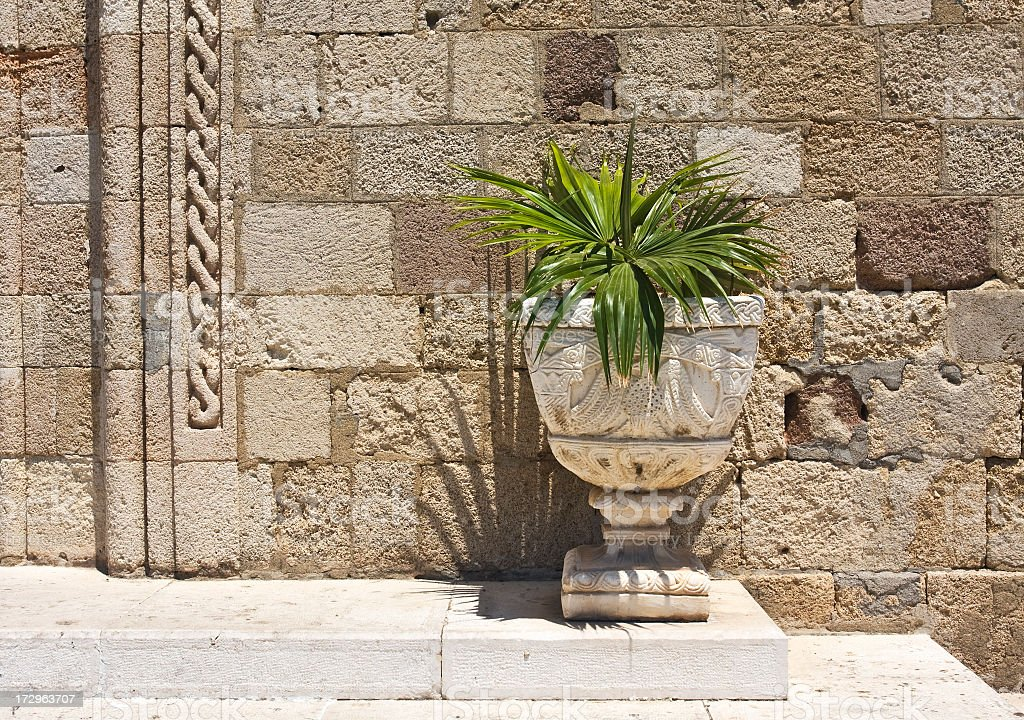 Old pot with green plant outside church in Rhodes, Greece. royalty-free stock photo
