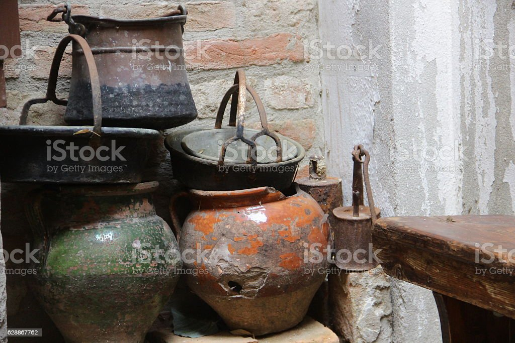 Old pots stock photo