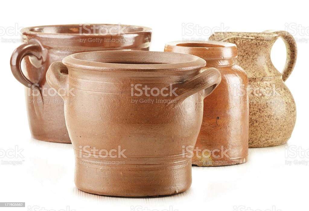 Old pottery isolated on white royalty-free stock photo