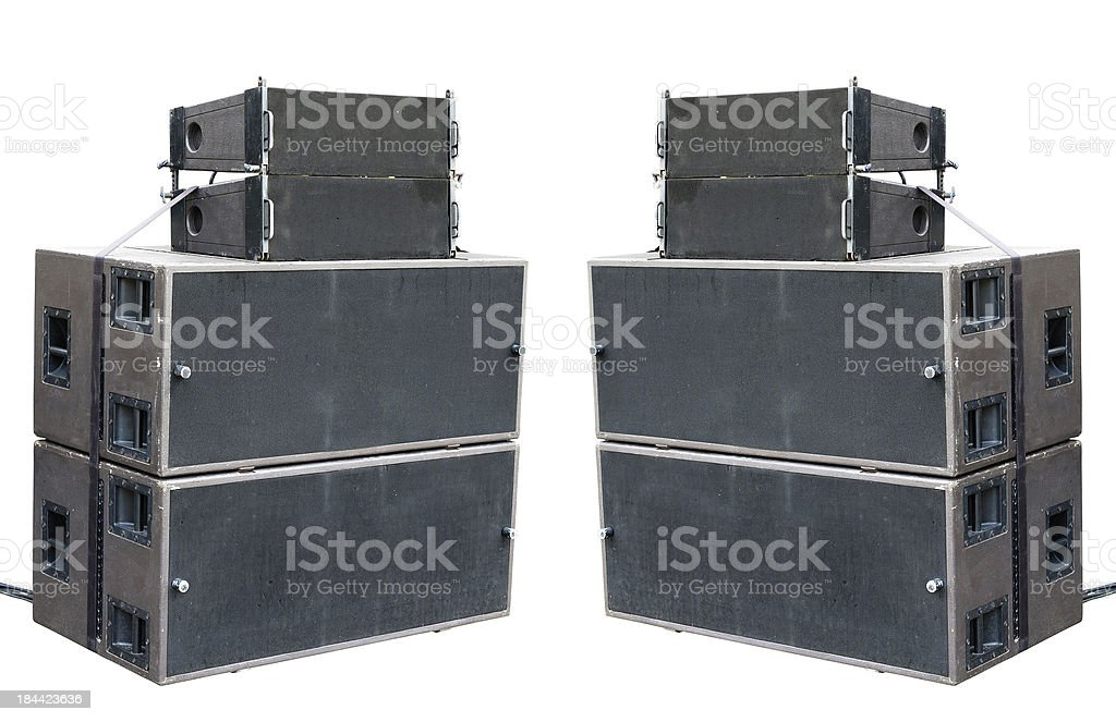 Old powerful stage concerto audio speakers isolated on white royalty-free stock photo