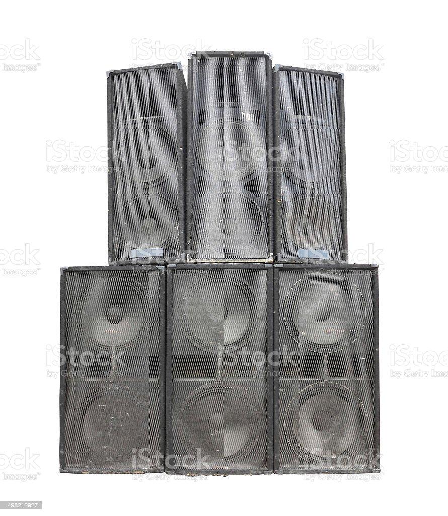 Velho poderoso concerto áudio fase oradores isolado a branco foto de stock royalty-free