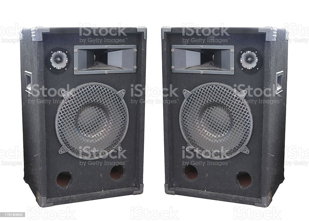 Velho poderoso concerto áudio oradores isolado fase foto de stock royalty-free