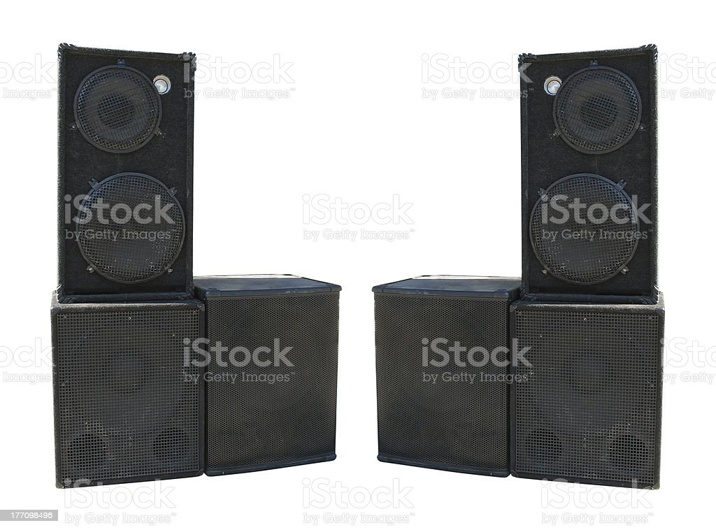 old powerful stage concerto audio speakers stock photo