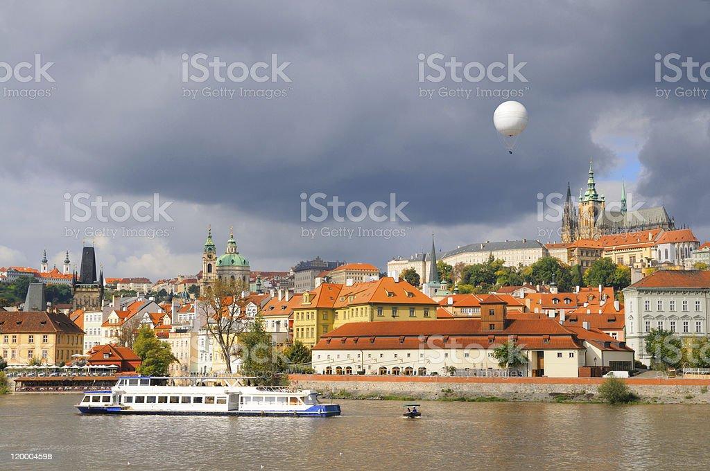 Old Prague, Vltava river under Autumn sun royalty-free stock photo