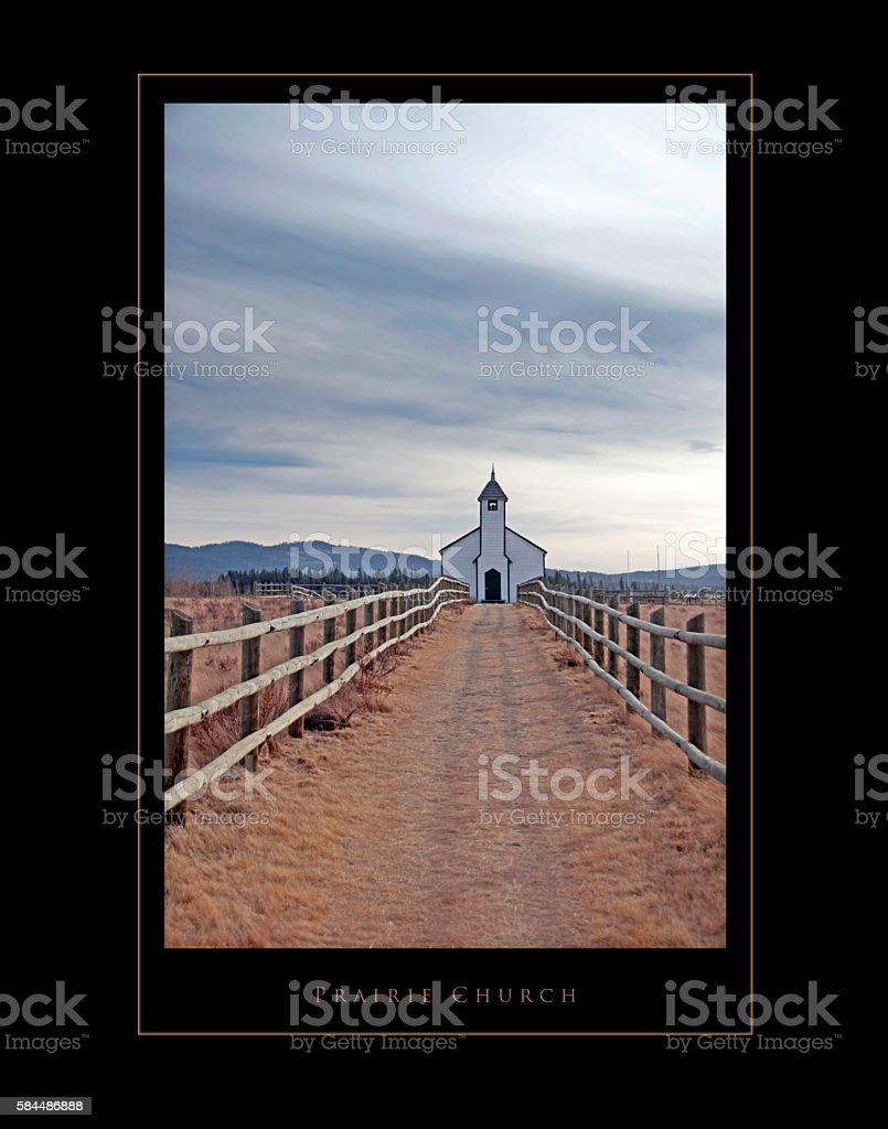 Old prairie church  with black frame and into poster stock photo