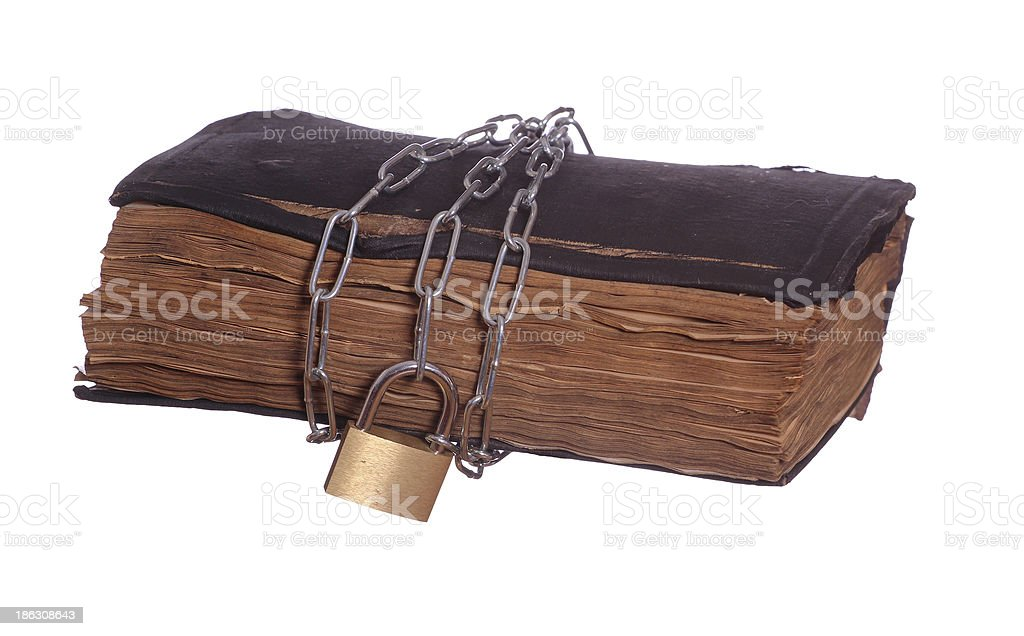 old prayer book with padlock and chain royalty-free stock photo