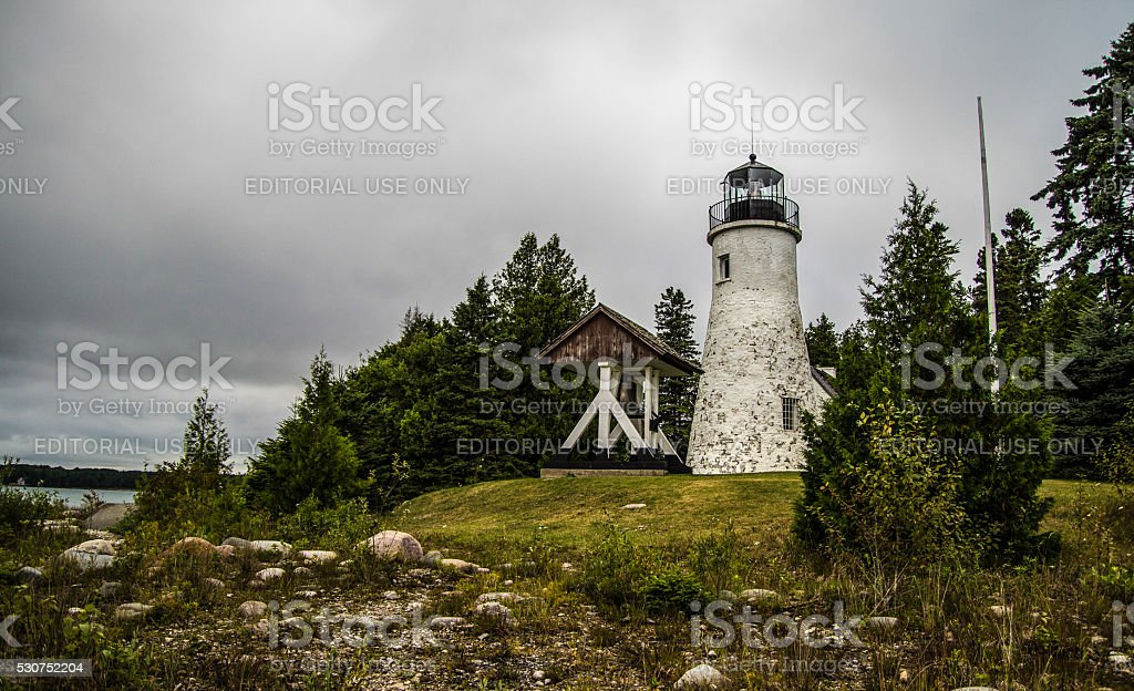 Old Presque Isle Lighthouse In Northern Michigan stock photo
