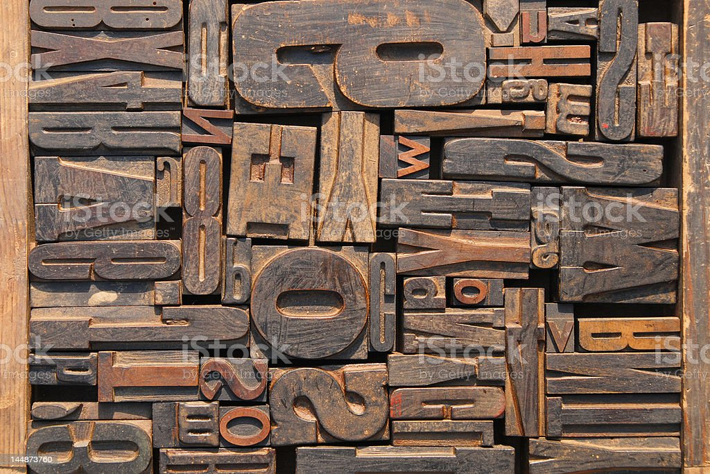 Old printing block letters stock photo
