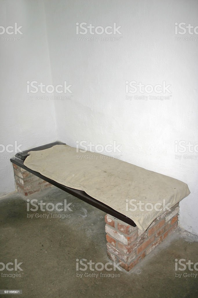 Old Prison Cell Bed at Stirling Castle in Scotland stock photo
