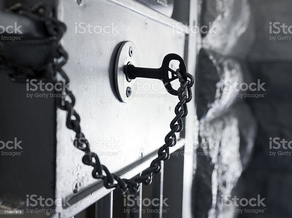 Old Prison Cell Lock with Key stock photo